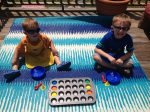 My boys had a blast making their sand art creations out on the deck!