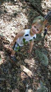 The boys had fun looking for Yeti footprints in the woods!