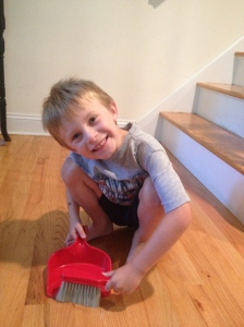 Kids are never too young to start chores. Sweeping a great way to get started!