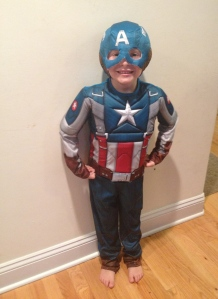 Tyler was so excited to put on his awesome Captain America Costume! It fit perfectly!
