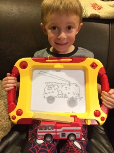 Tyler did a great job drawing his fire truck!