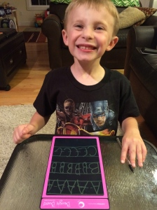 Using the Boogie Board can help boost kids confidence in their academic skills! Look how proud Tyler is of his letters!
