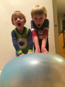 The boys could not believe how cool their Wubble Bubble Ball was!!