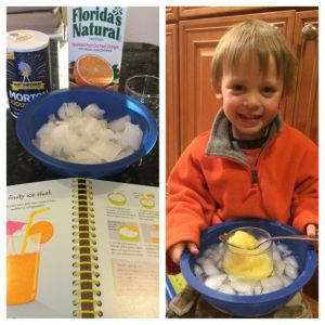 The boys LOVED the yummy orange slushy we made by just using ice and salt!