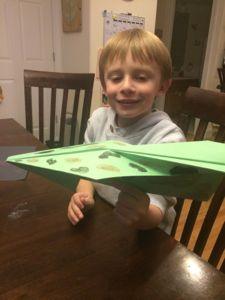 My son was very proud of his camouflage plane. His design strayed a little from the book, but that's the beauty of experimenting!
