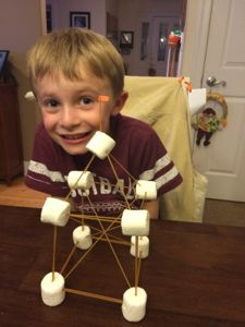 My son was so proud of his spaghetti and marshmallow tower!