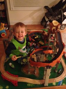 A train table can hold a variety of train sets such as Chuggington and Thomas!