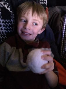 Tyler was so excited that he was able take home a snowball from Buddy!
